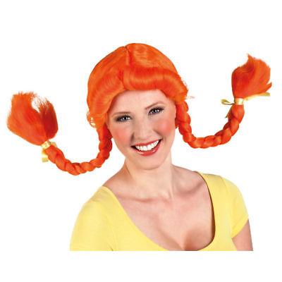 Perücke Heidi, geflochten, orange