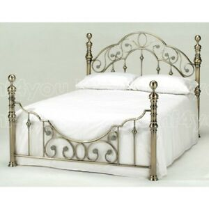HARMONY CLASSIC ANTIQUE FLORENCE 4ft6 Double Brass Metal Bed Free P&P