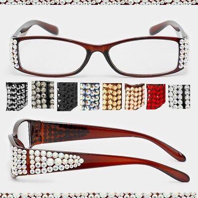Crystal Rhinestone Rectangular Reading Glasses Optical Frame Black Brown Bling Black Rhinestone Reading Glasses