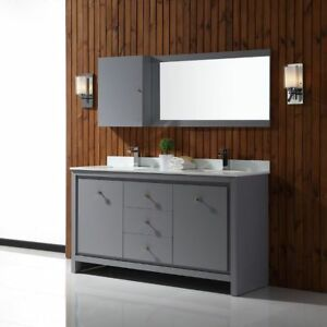 Retail $1130 OVE 60-inch Cultured Marble Double Bathroom Vanity
