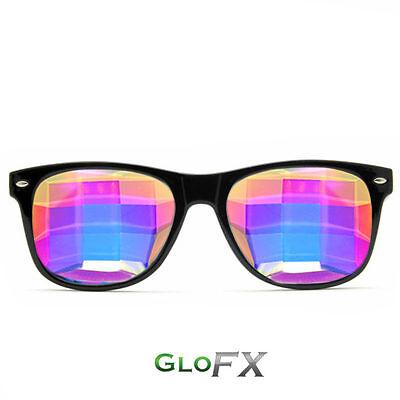 GloFX Bug Eye Ultimate Kaleidoscope Glasses – Black Lightweight Flat-Back Design](Bug Eye Sunglasses)
