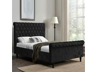 Brand New Double Kingsize Chesterfield Crush Velvet Bed Frame with Diamond Studs, Mattress available