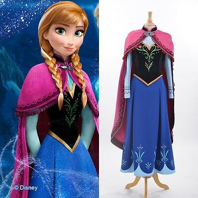 Disney Movie Frozen princess Anna cosplay costume Handmade Adult dress - Adult Disney Apparel