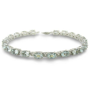 10 Carat Aquamarine and Diamond Bracelet in Sterling Silver