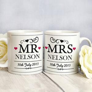 Personalised 2-Pack Mr and Mrs Wedding Mugs - Bride Groom Anniversary Gift