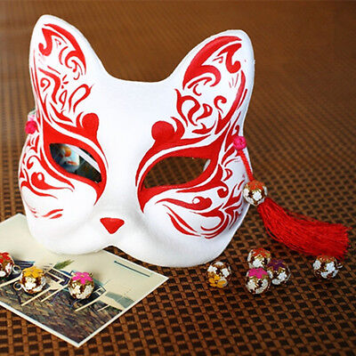Hand-painted Half Face Fox Mask Paper Halloween Costume Carnival Babymetal - Half Painted Halloween Faces