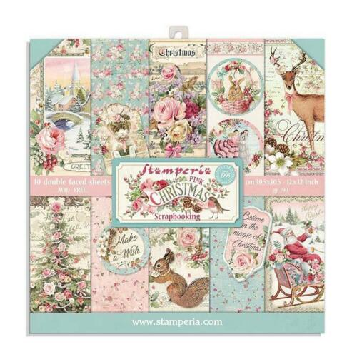 Stamperia PINK CHRISTMAS 8X8 Double Faced Paper 10 Sheets + BONUS #SBBS16