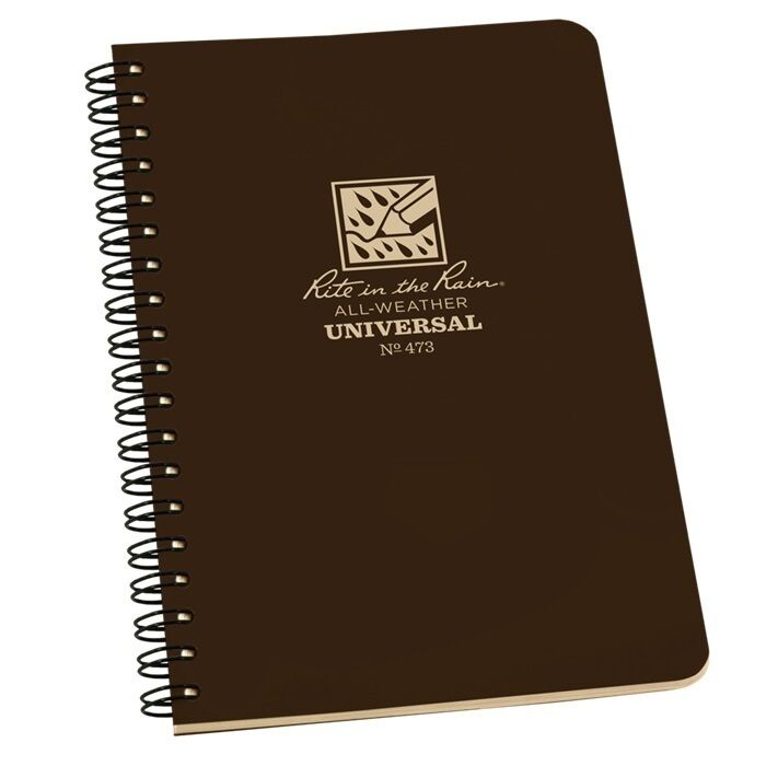 """Rite in the Rain 473 All-Weather Universal Spiral Notebook, Brown, 4 5/8"""" x 7"""""""