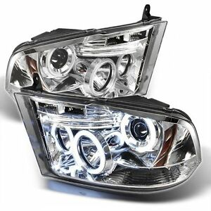 DODGE RAM HEADLAMP 2009 - 2014 HEADLIGHT LED CHROME PROJECTOR