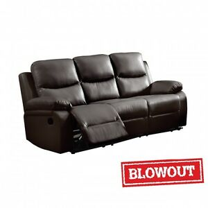 Reclining Sofa - Available in Dark Brown or Black Leatherette