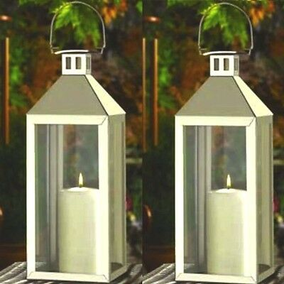2 Large Silver Lantern Stainless Steel Tall Candle Holder Wedding