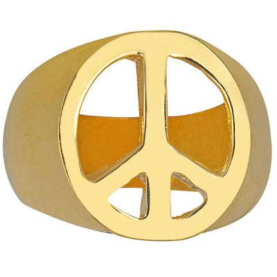 Ring Peace-Symbol gold, Hippiekostüm Zubehör 60er Verkleidung Fasching - Kostüm Schmuck Gold Ringe