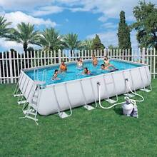 Bestway Steel Frame Rectangular Swimming Pool and Fence Modbury Heights Tea Tree Gully Area Preview