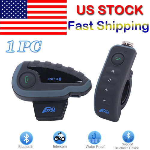 1200m Remote Control V8 BT Bluetooth Motorcycle Helmet Interphone Intercom US