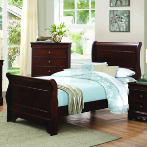 Twin black sleigh bed