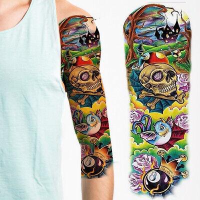 Temporary Tattoo Full Arm Sleeves Roses Dragon Bat Halloween Spooky Ghost Skull - Roses Tattoo Sleeves