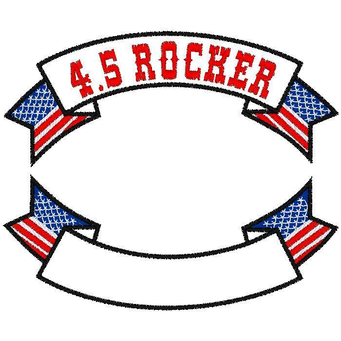 CUSTOM EMBROIDERED MOTORCYCLE  4.5 INCH  FLAG ROCKER PATCH