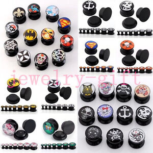Punk-Acrylic-Skull-Devil-Peony-Ear-Plug-Flesh-Tunnel-Expander-Stretcher-Screw