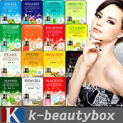 30pcs Korean Essence Facial Mask Sheet, Moisture Face Mask Pack Skin Care Lots