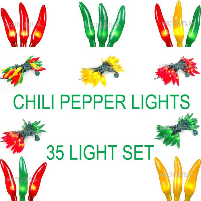 Novelty Lights 35 Mini Light Chili Pepper Light Set - Green Wire - 11.5' Long