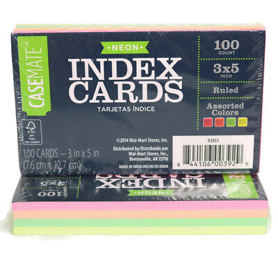 Casemate 2 Packs Of 100 Ruled Index Cards 3 X 5 Neon Assorted Colors