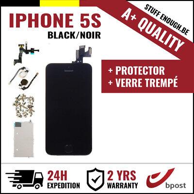 A+ LCD TOUCH SCREEN SCHERM ÉCRAN ASSEMBLY BLACK NOIR +VERRE TREMPÉ FOR IPHONE 5S