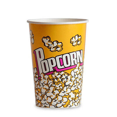Popcorn Supplies - Yellow Popcorn Cups Tubs 46oz Qty Of 50