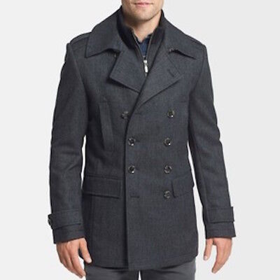 Brand New Seven 7 Diamonds Glasgow Trim Fit Double Breasted Charcoal Coat  S 38R