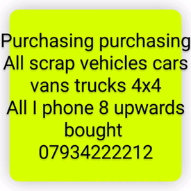 All scrap cars and vans bought for cash 4x4