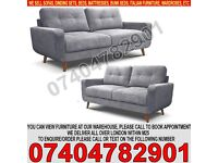 BRAND NEW 3 and 2 Seater Fabric Sofa Set with Wooden Legs