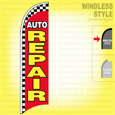 Auto Repair - Windless Swooper Flag 2x11.5 Ft Feather Banner Sign Rb