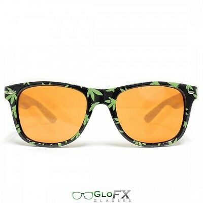 GloFX Halloween Costume Pot Leaf Diffraction Glasses- Auburn Enhanced Party EDM - Pot Leaf Costume