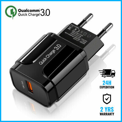 Qualcomm Quick Charge 3.0 USB Port Wall Charger Chargeur Prise Adapter Black