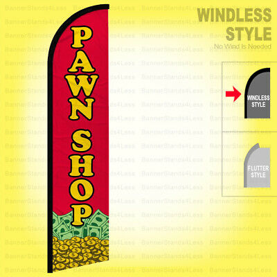 Pawn Shop - Windless Swooper Flag 2.5x11.5 Ft Tall Feather Banner Sign Rf