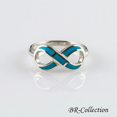 (Sterling Silver Infinity Ring with Blue Turquoise Inlay)