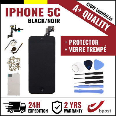 A+ LCD SCREEN SCHERM ÉCRAN ASSEMBLY BLACK NOIR +TOOL&VERRE TREMPÉ FOR IPHONE 5C