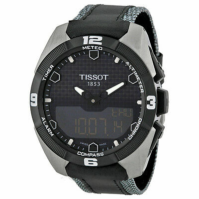 Tissot T Touch Solar Ana Digital Dial Leather Strap Mens Watch T0914204605101