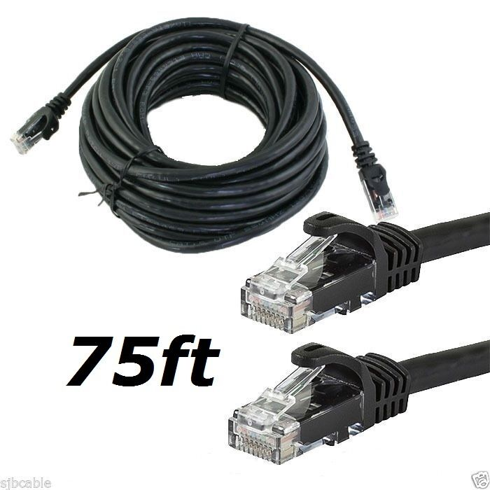 CAT6 CAT6 75FT feet BLACK RJ45 Ethernet LAN Network Cable Patch Cord For Router Computers/Tablets & Networking