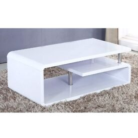 Brand new modern white gloss coffee table (replacement top piece in flatpack due to light scratch)