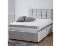 BLACK SILVER 9 INC AND 12 INCH CRUSH VELVET DIVAN BED WITH STORAGE DRAWERS HEADBOARD