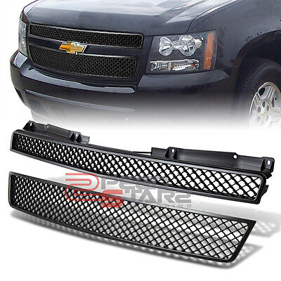 07-12 CHEVY TRUCK/SUV GMT900 BLACK ABS PLASTIC FRONT+LOWER BUMPER GRILL GUARD