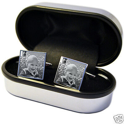 Engraved Photo Cufflinks Personalised idea for Best Man, Wedding, Father's day