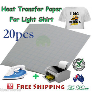 New 20 X A4 Iron On Inkjet T Shirt Heat Transfer Paper For Light Fabric Cloth AU