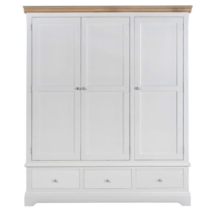 Charleston 3 Door 3 Drawer Wardrobe in Cream