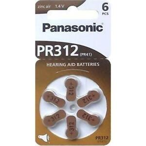 HEARING AID BATTERIES PANASONIC (6 Pcs) PR312, PR230, PR13 $10