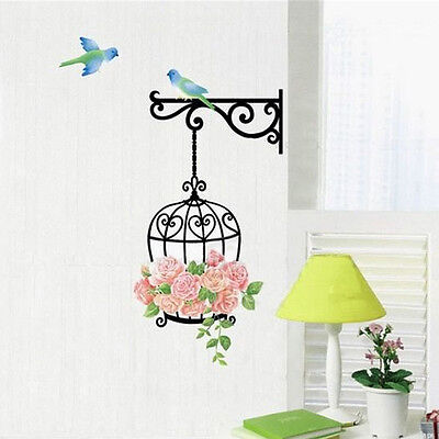 (DIY Removable Art Vinyl Rose Bird Cage Wall Decal Sticker Home Room Decorations)