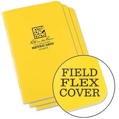 Rite In The Rain 381fx All-weather Stapled Metric Grid Notebook Yellow 3 Pack