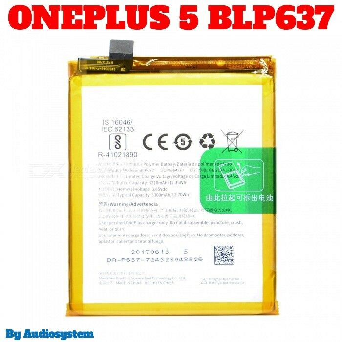 BATTERIA DA 3300MAH per ONEPLUS 5 5T FIVE A5000 1+5 BLP637 POLIMERI LITIO