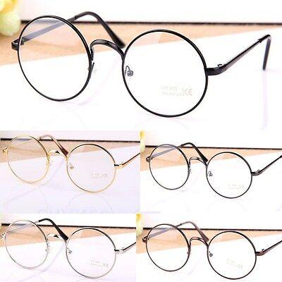 Retro Big Round Metal Frame Clear Lens Glasses Designer Nerd Geek Eyewear - Big Black Frame Nerd Glasses
