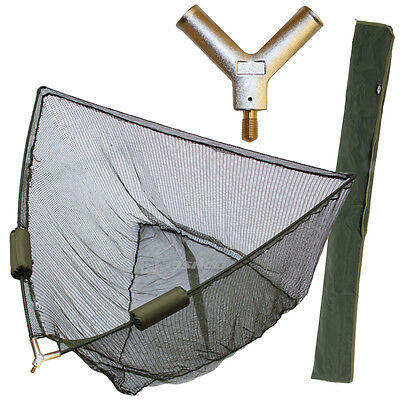 "42"" INCH LARGE CARP FISHING LANDING NET NGT DUAL NET FLOATS + STINK BAG NEW"